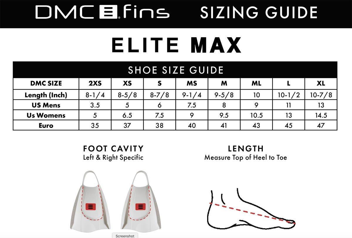 DMC Elite MAX - Storleksguide